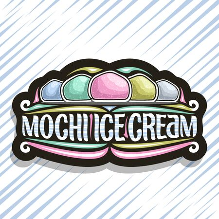 Vector logo for Mochi Ice Cream, dark decorative tag with illustration of 5 different traditional japanese ice creams, original script for words mochi ice cream, design sign board for asian patisserie