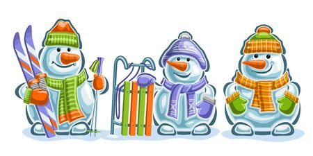 Vector set of cute Snowmans, 3 cut out blue smiling snowmans with carrot noses, sled and sport skis in green and orange mittens, knitted scarves and colorful modern hats on white background.