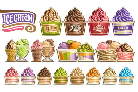 Vector set of Ice Creams, 16 cut out illustration of variety ice creams on white background, collection of different ice creams dripping sauce in plastic and glass containers with fruits ingredients.