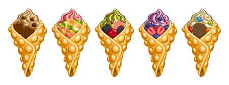 Vector set of Hong Kong Waffles, 5 cut out illustration of delicious bubble waffles on white background, collection of asian ice creams in waffle cones stuffed fruits ingredients for street cafe menu.