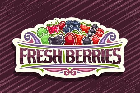 Fresh Berries, decorative cut paper sign with illustration of pile variety berries and design flourishes, concept with original typeface for words fresh berries on striped background. Ilustração