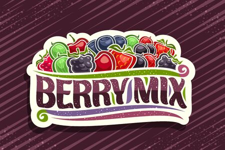 Berry Mix, decorative cut paper badge with illustration of heap various berries and design flourishes, concept with original brush typeface for words berry mix on purple background. Illusztráció