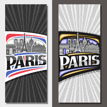 Vector vertical layouts for Paris with copy space, brochure with black and white line draw of paris landmarks, decorative invitation with original typeface for word paris on grey abstract background.