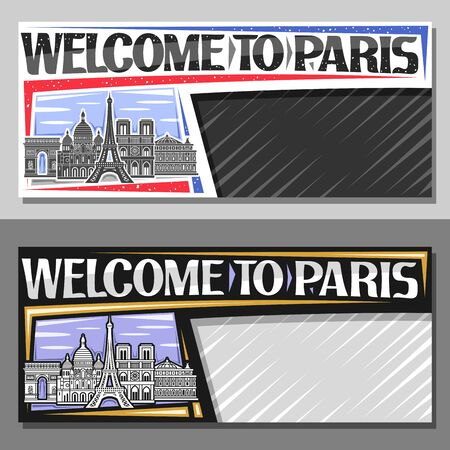 Vector layouts for Paris with copy space, card with black and white line draw of paris landmarks, decorative voucher with original typeface for words welcome to paris and grey abstract background.