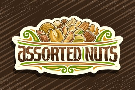 Assorted Nuts, decorative cut paper sign with illustration of pile raw different nuts and flourishes, design signage with original typeface for words assorted nuts on brown background. Archivio Fotografico - 136524297