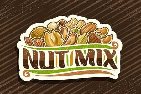 Nut Mix, decorative cut paper tag with illustration of heap raw variety nuts and flourishes, design concept with original brush script for words nut mix on brown abstract background. Archivio Fotografico - 136524317