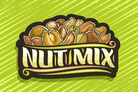 Nut Mix, black decorative tag with illustration of pile cartoon various nuts and flourishes, design concept with original brush script for words nut mix on green abstract background. Archivio Fotografico - 136524327