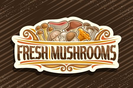 Fresh Mushrooms, decorative cut paper signboard with illustration of pile whole eatable mushrooms and flourishes, signage with brush type for words fresh mushrooms on brown background. Illustration