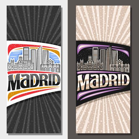 Vector layouts for Madrid, decorative leaflet with draw illustration of famous madrid landmarks at day and evening, posters with original brush typeface for word madrid on grey abstract background.