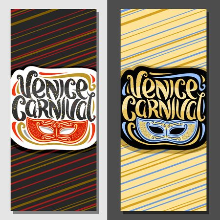 Vector tickets for Venice Carnival, vertical template with illustration of blue and red fun masquerade mask, badge with elegant handwritten typeface for words venice carnival on abstract background. Çizim