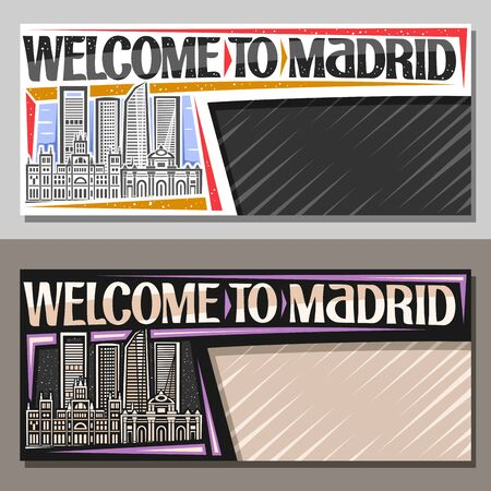 Vector layouts for Madrid with copy space, decorative voucher with draw illustration of famous madrid landmarks at day and evening, cards with original brush typeface for words welcome to madrid.