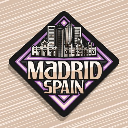 Madrid, dark rhombus tag with illustration of famous madrid landmarks at evening, decorative fridge magnet with original brush typeface for words madrid spain on abstract background.