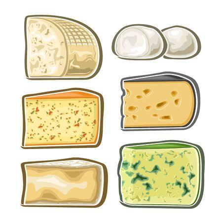 Ensemble d'images vectorielles de fromage frais, collection de 6 illustration découpée de divers mélanges de fromages sur fond blanc.