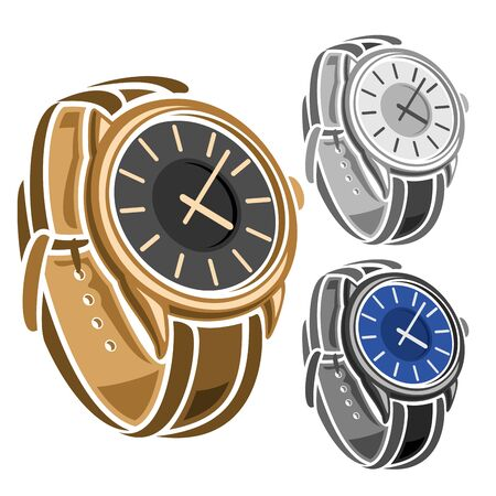 Vector set of Wrist Watches, collection of 3 cut out illustrations of variety swiss wrist watches with leather bracelets on white background.