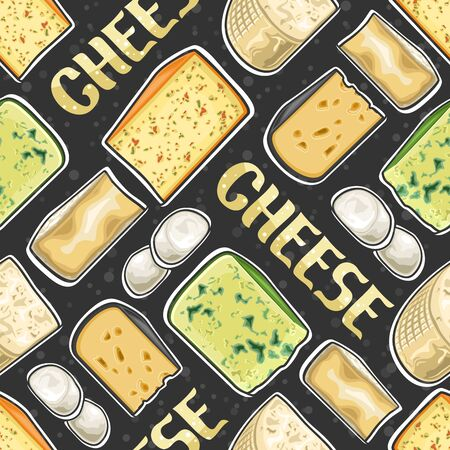 Vector Cheese Seamless Pattern, square repeat seamless ornament with cut out illustrations of fresh assorted cheese, food pattern for wrapping paper of farm grocery store on dark abstract background.