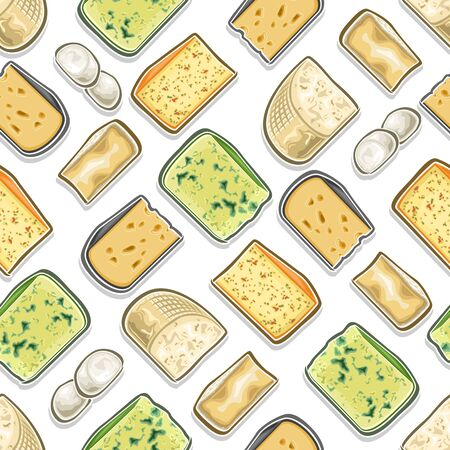 Vector Cheese Seamless Pattern, square repeat seamless ornament with cut out illustrations of fresh assorted cheese, food pattern for wrapping paper of farm grocery store on white background.  イラスト・ベクター素材