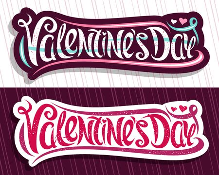 Valentines Day, decorative cut paper stickers with curly calligraphic font, design flourishes and cartoon valentines hearts, brush type for words valentines day on purple and white.