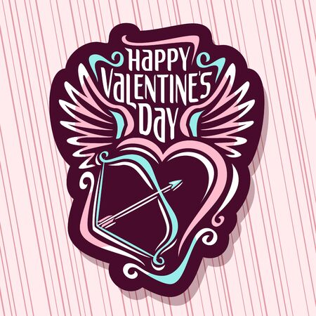 St. Valentines Day, original handwritten font for greeting text happy valentines day on dark, calligraphic wish for romantic saint valentine holiday with contour heart, bow and arrow. Çizim