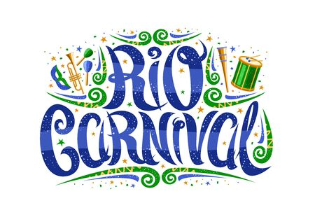 Carnival in Rio de Janeiro, decorative signage with curly calligraphic font, design flourishes and carnival mask, banner with brush type for words rio carnival on white background. Stock Illustratie