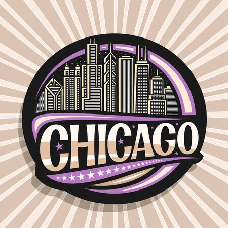 Vector logo for Chicago, dark decorative round badge with draw illustration of modern twilight chicago cityscape, tourist fridge magnet with original brush typeface for word chicago and stars in a row