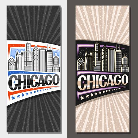 Vector vertical layouts for Chicago, decorative voucher with draw illustration of modern day and dusk chicago cityscape, tourist card with original brush typeface for word chicago and stars in a row.
