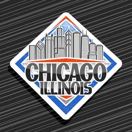 Vector logo for Chicago, white decorative signboard with line illustration of chicago cityscape, tourist fridge magnet with original typeface for words chicago illinois on black striped background.