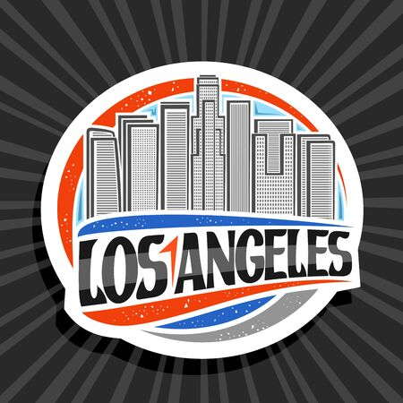 Vector logo for Los Angeles, white decorative round tag with line illustration of contemporary cityscape on sky background, tourist fridge magnet with creative brush letters for black text los angeles Ilustração