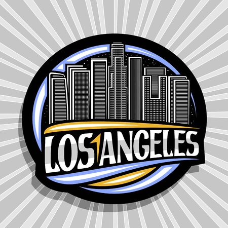 Vector logo for Los Angeles, dark decorative round stamp with draw illustration of contemporary cityscape on dusk sky background, tourist fridge magnet with creative brush letters for word los angeles