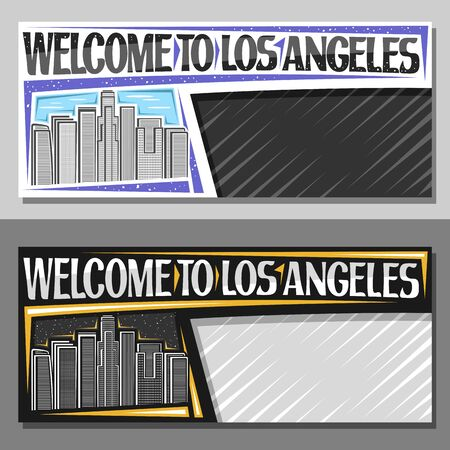 Vector layouts for Los Angeles with copy space, decorative voucher with black and white line illustration of LA cityscape on sky background, coupon with brush letters for words welcome to los angeles. Ilustração