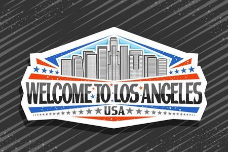 Vector logo for Los Angeles, white sign board with line illustration of modern LA cityscape on sky background, signboard with brush letters for black words welcome to los angeles and stars in a row. Ilustração
