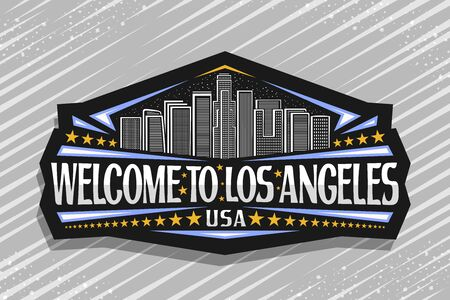 Vector logo for Los Angeles, dark decorative signage with line illustration of modern LA cityscape on dusk sky background, tourist fridge magnet with brush letters for words welcome to los angeles USA