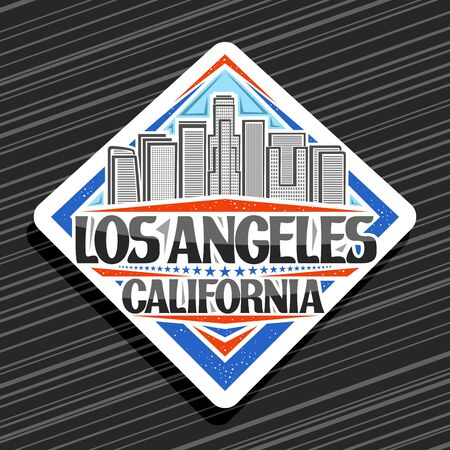 Vector logo for Los Angeles, white rhomb tag with art draw illustration of contemporary los angeles cityscape, design stamp with brush letters for black words los angeles california and stars in a row