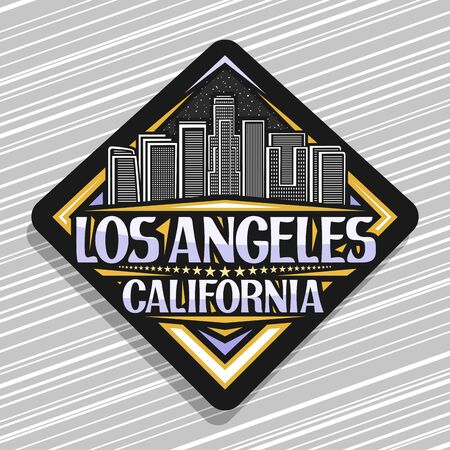 Vector logo for Los Angeles, dark rhombus sticker with line illustration of famous evening los angeles cityscape, tourist badge with brush letters for words los angeles california and stars in a row.