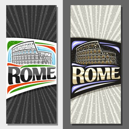 Vector layouts for Rome with copy space, decorative leaflets with illustration of black and white and illuminated old rome colosseum on sky background, tourist card with brush letters for word rome.