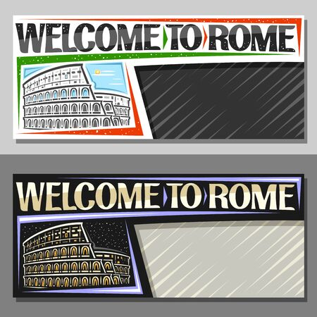 Vector layouts for Rome with copy space, decorative voucher with illustration of black and white and illuminated rome colosseum on sky background, tourist coupon with greeting words welcome to rome. Ilustrace