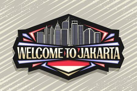 Vector logo for Jakarta, dark decorative signage with line illustration of modern jakarta city scape on dusk sky background, design fridge magnet with creative typeface for words welcome to jakarta.