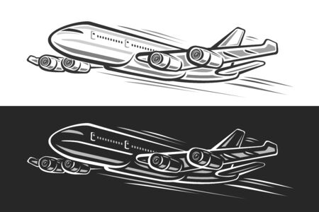 Vector logo for Flying Plane, horizontal banners with outline illustration of will land high speed plane with 4 turbines on black and white background, monochrome art design concept for airport. Ilustracja