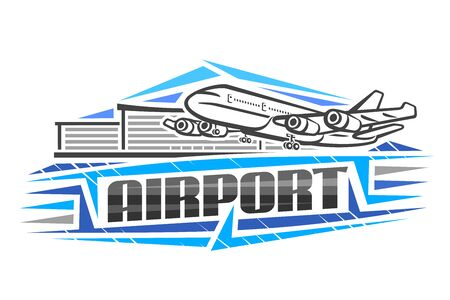 Vector logo for Airport, blue decorative sign board with contour illustration of will land high speed plane on background of airport building, art design concept with creative letters for word airport
