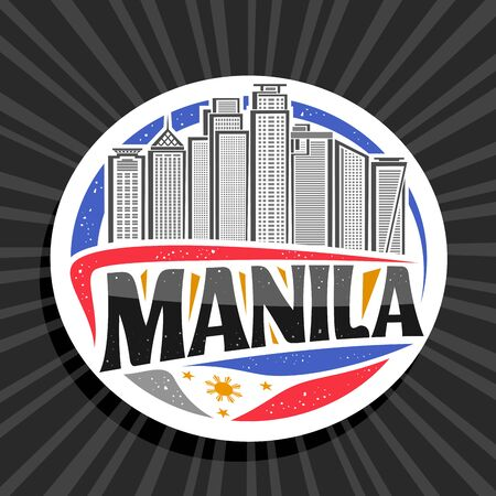 Vector logo for Manila, white decorative circle tag with illustration of contemporary manila city scape on sky background, art design tourist fridge magnet with creative letters for black text manila.
