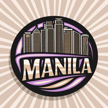 Vector logo for Manila, black decorative round sticker with outline illustration of contemporary manila city scape on sky background, design tourist fridge magnet with creative letters for word manila