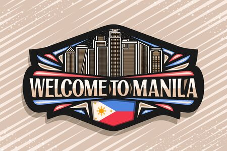 Vector logo for Manila, black decorative sign with line illustration of contemporary manila city scape on dusk sky background, design fridge magnet with creative letters for words welcome to manila.