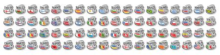 Vector set of Soccer Icons with national flags and soccer balls, collection of 72 football sport sings for european and american soccer tournament isolated on white background. Illustration
