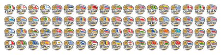 Vector set of Basketball Icons with illustration of national flags and basketball ball in hoop, collection of 72 sport sings for european and american basketball tournament isolated on white.