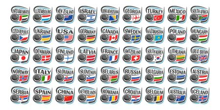 Vector set of Ice Hockey Icons with illustration of national flags, hockey puck and stick, collection of 45 sport sings for european and american ice hockey tournament isolated on white background.