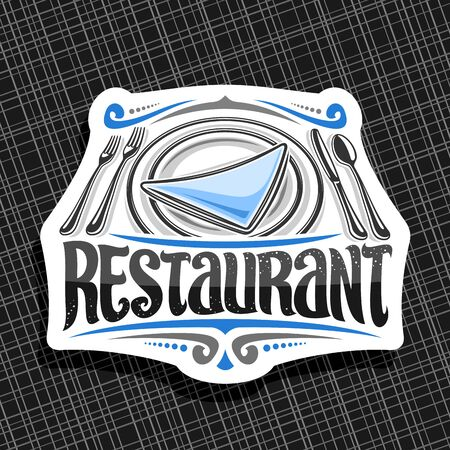 Vector logo for Restaurant, decorative retro sign board with illustration of dish with blue napkin and silverware set top view, art sticker with brush typeface for word restaurant on black background.