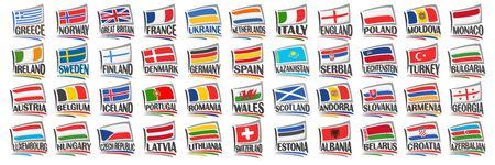 Vector set of European Countries Flags, 44 decorative isolated labels with national state flags and brush font for different words on white background, tourist stickers for european independence day. Stock Illustratie