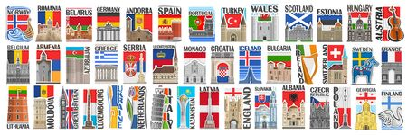 Vector set of European Countries with flags and symbols, 43 isolated vertical labels with national state flags and brush font for different words, art design stickers for european independence day.