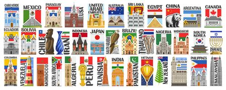 Vector set of American and Asian Countries with flags and symbols, 38 isolated vertical labels with national state flags and brush font for different words, decorative stickers for independence day.