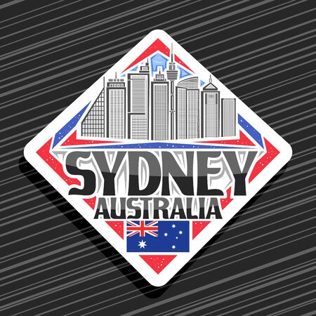 Vector logo for Sydney, white decorative road sign with line illustration of contemporary sydney city scape on day sky background, fridge magnet with unique letters for black words sydney, australia.