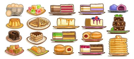 Vector Set of assorted Desserts, lot collection of 19 isolated delicate cakes and gastronomy yummy desserts on plates and dishes, group of many cut out diverse baked goods for cafe or restaurant menu.